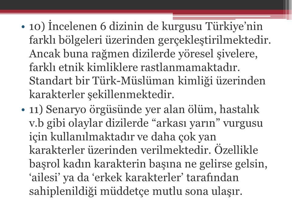 10) İncelenen 6 dizinin de kurgusu Türkiye'nin farklı bölgeleri üzerinden gerçekleştirilmektedir. Ancak buna rağmen dizilerde yöresel şivelere, farklı etnik kimliklere rastlanmamaktadır. Standart bir Türk-Müslüman kimliği üzerinden karakterler şekillenmektedir.