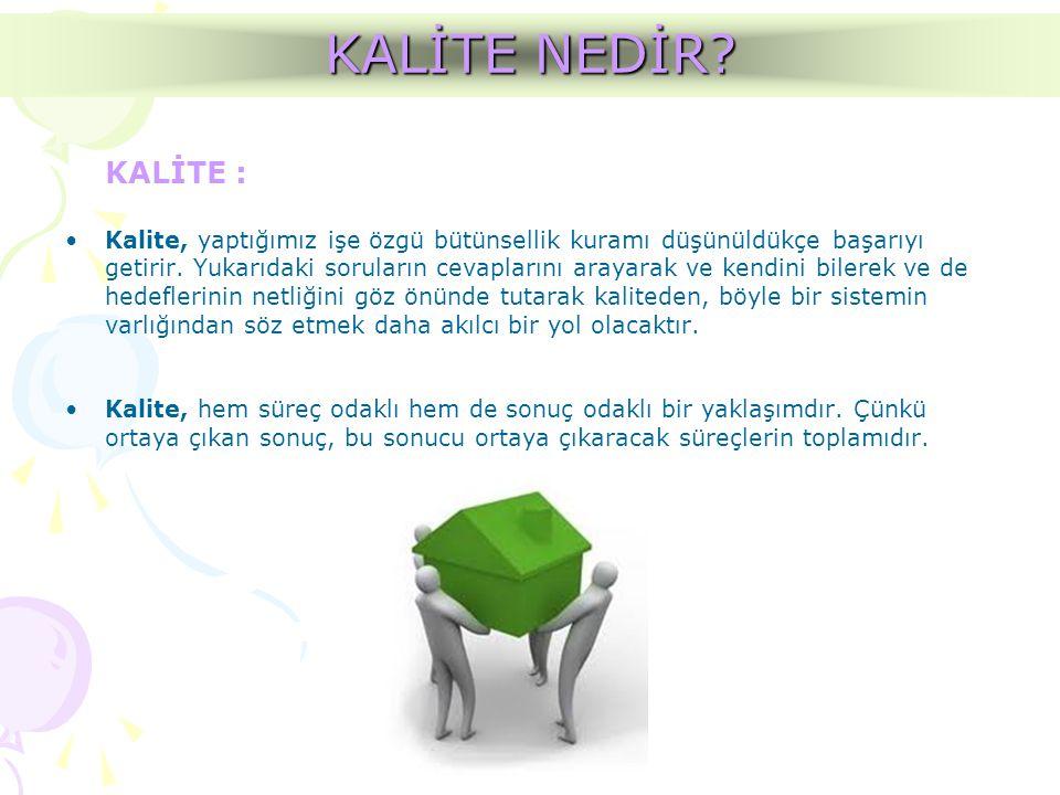 KALİTE NEDİR KALİTE : Kalite, yaptığımız işe özgü bütünsellik kuramı düşünüldükçe başarıyı.