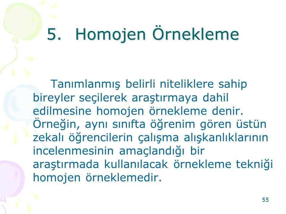 5. Homojen Örnekleme
