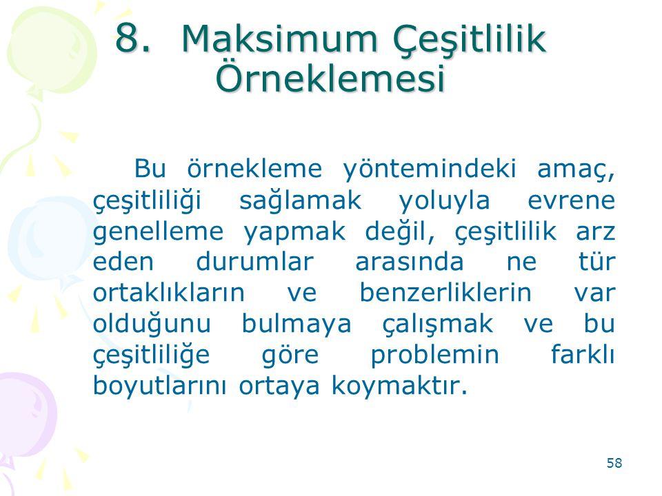 8. Maksimum Çeşitlilik Örneklemesi