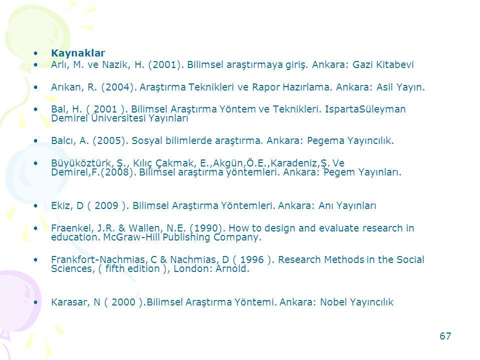 Kaynaklar Arlı, M. ve Nazik, H. (2001). Bilimsel araştırmaya giriş. Ankara: Gazi Kitabevi.