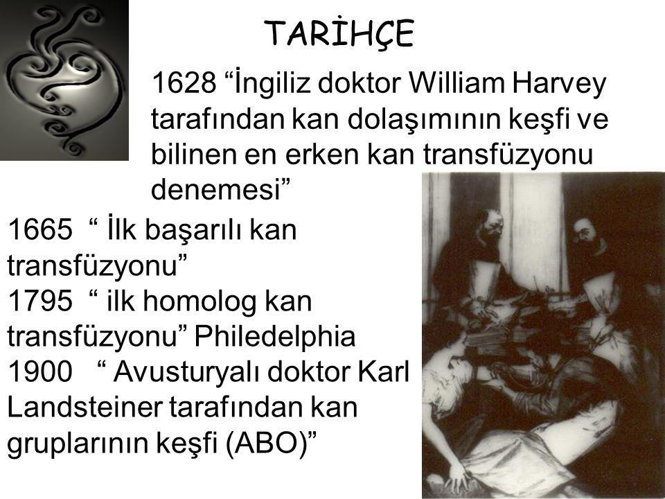TARİHÇE 1628 İngiliz doktor William Harvey tarafından kan dolaşımının keşfi ve bilinen en erken kan transfüzyonu denemesi