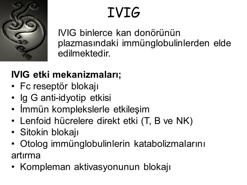 IVIG IVIG binlerce kan donörünün plazmasındaki immünglobulinlerden elde edilmektedir. IVIG etki mekanizmaları;