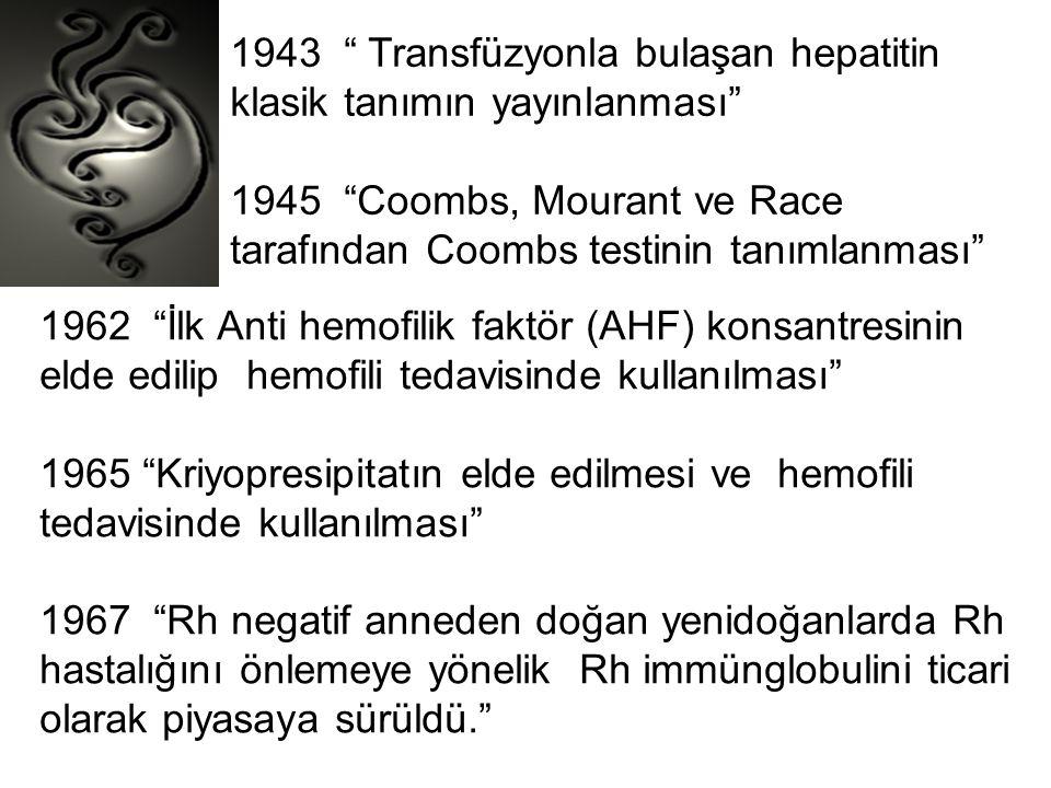1943 Transfüzyonla bulaşan hepatitin klasik tanımın yayınlanması