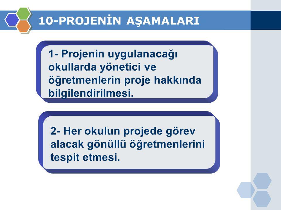 10-PROJENİN AŞAMALARI 1- Projenin uygulanacağı okullarda yönetici ve öğretmenlerin proje hakkında bilgilendirilmesi.