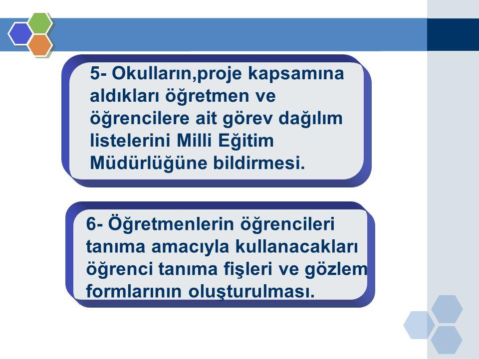 5- Okulların,proje kapsamına aldıkları öğretmen ve öğrencilere ait görev dağılım listelerini Milli Eğitim Müdürlüğüne bildirmesi.