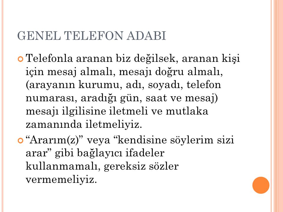 GENEL TELEFON ADABI