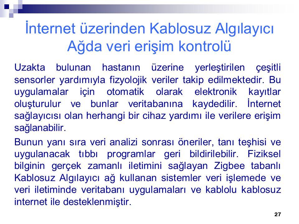 İnternet üzerinden Kablosuz Algılayıcı Ağda veri erişim kontrolü