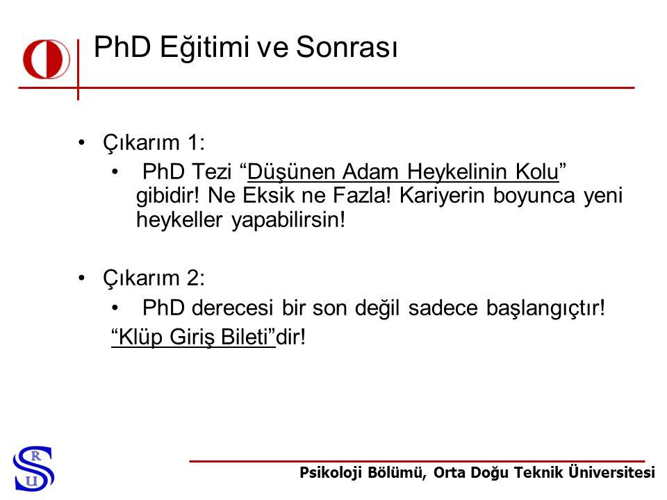 PhD Eğitimi ve Sonrası Çıkarım 1: