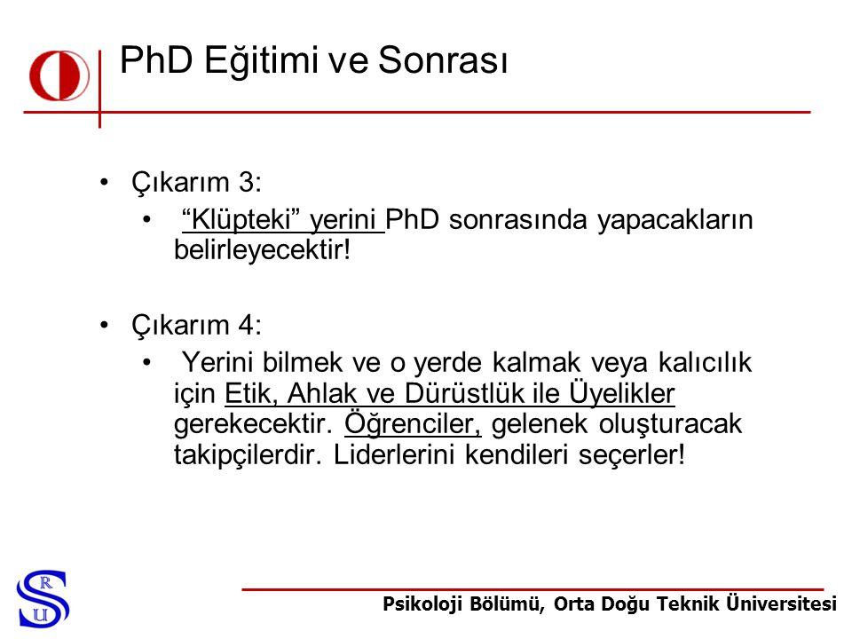 PhD Eğitimi ve Sonrası Çıkarım 3: