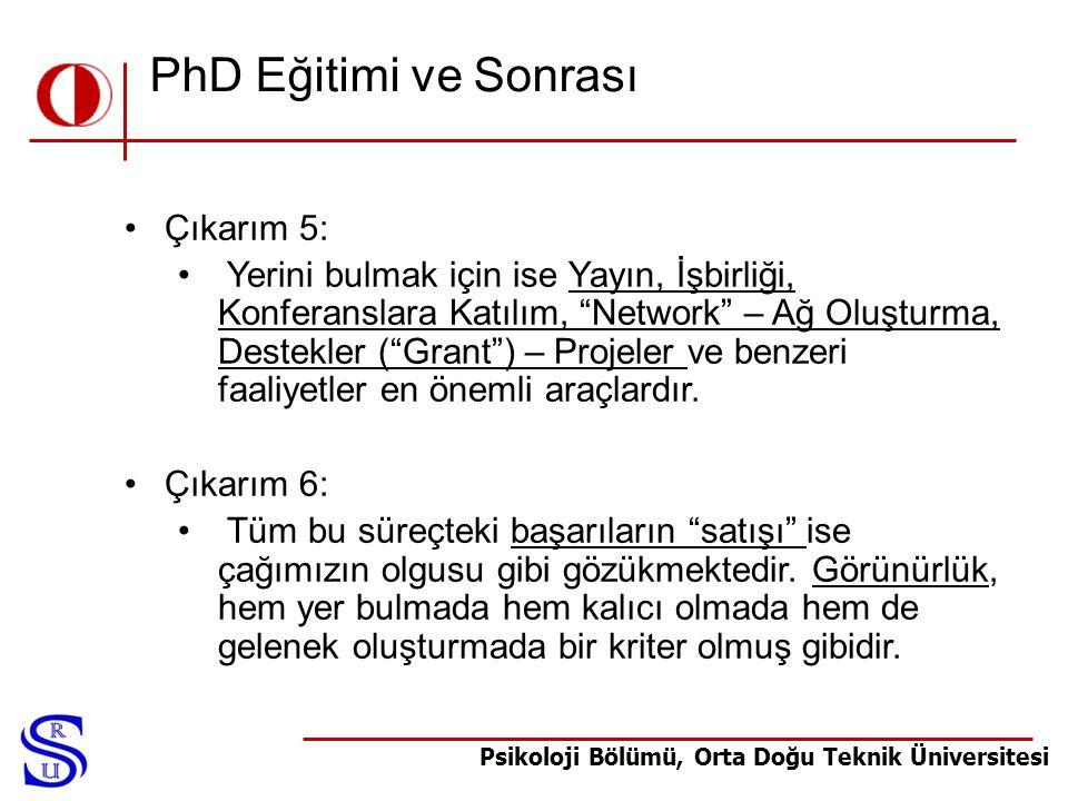 PhD Eğitimi ve Sonrası Çıkarım 5: