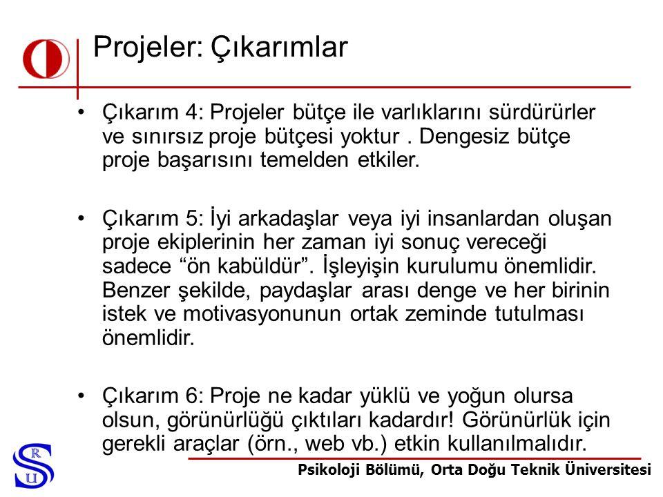 Projeler: Çıkarımlar