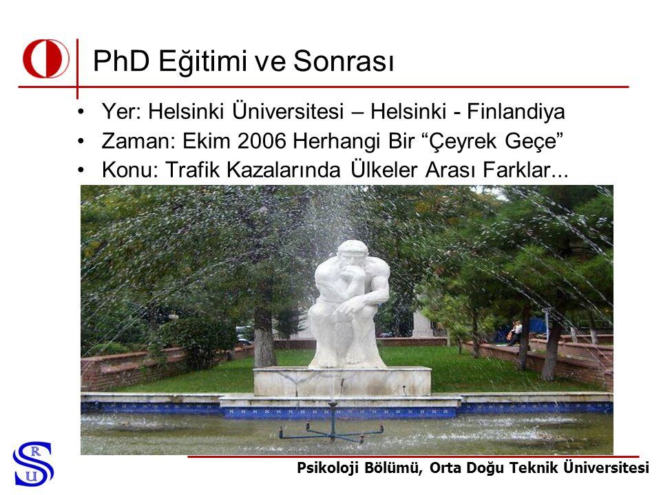 PhD Eğitimi ve Sonrası Yer: Helsinki Üniversitesi – Helsinki - Finlandiya. Zaman: Ekim 2006 Herhangi Bir Çeyrek Geçe