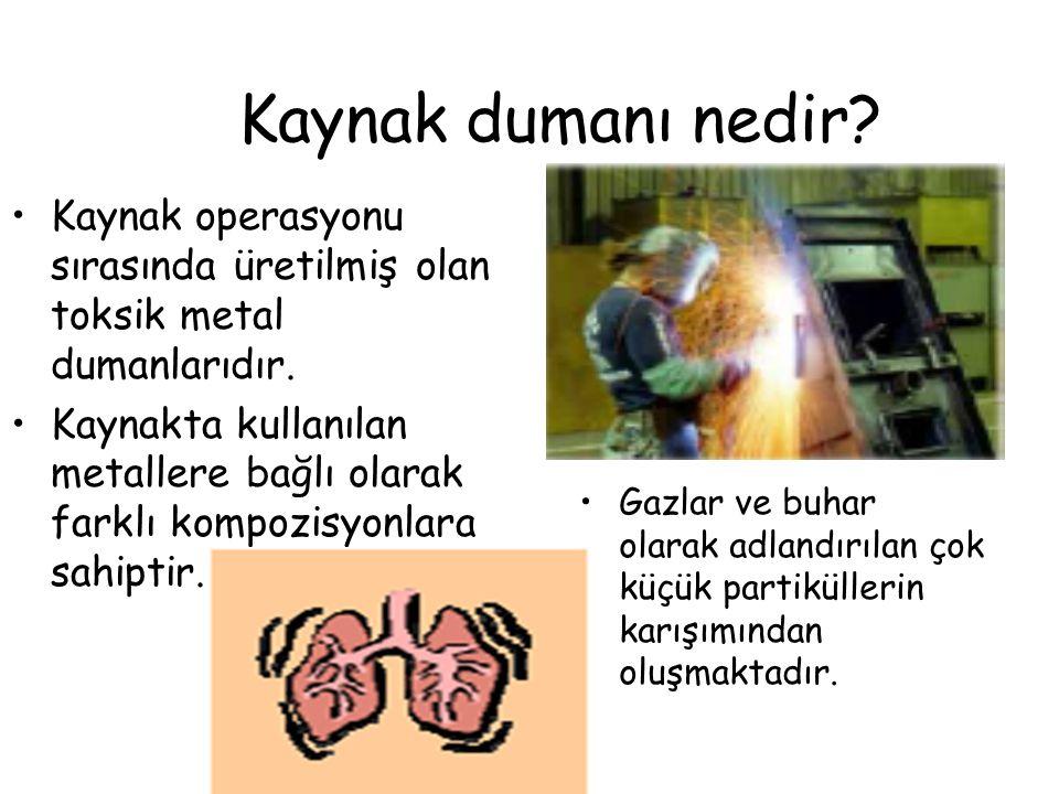 Kaynak dumanı nedir Kaynak operasyonu sırasında üretilmiş olan toksik metal dumanlarıdır.