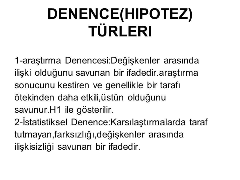 DENENCE(HIPOTEZ) TÜRLERI
