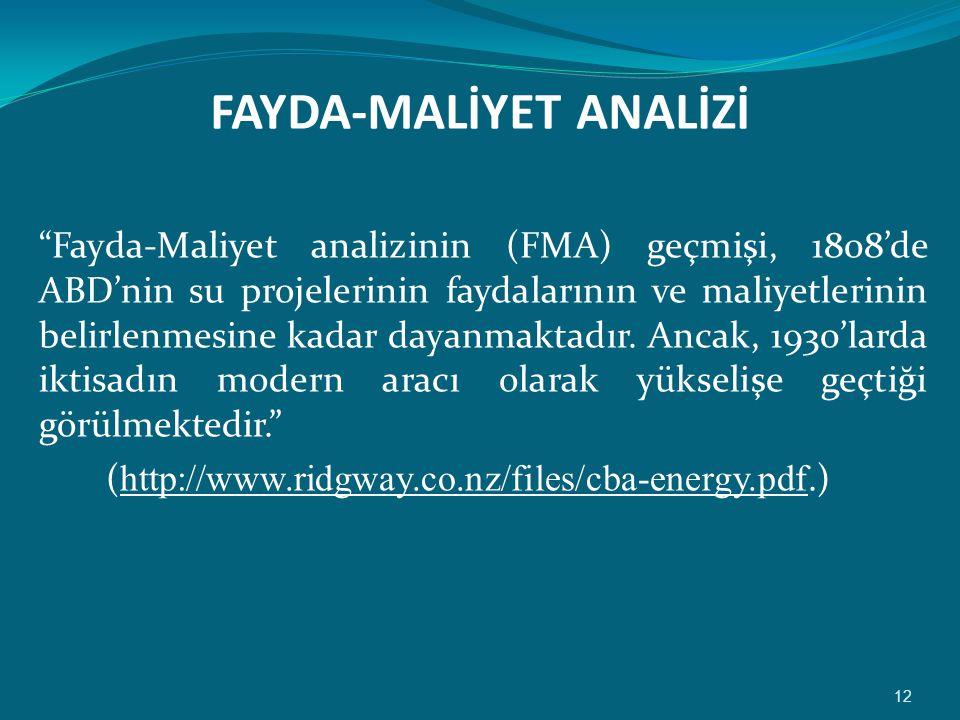 FAYDA-MALİYET ANALİZİ
