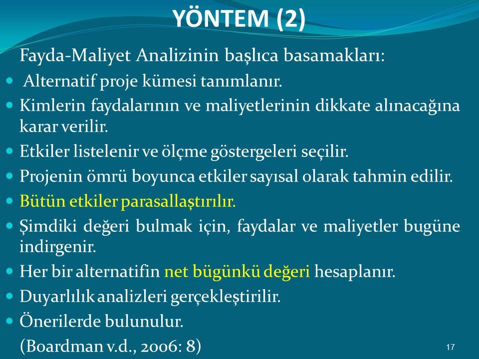 YÖNTEM (2) Fayda-Maliyet Analizinin başlıca basamakları: