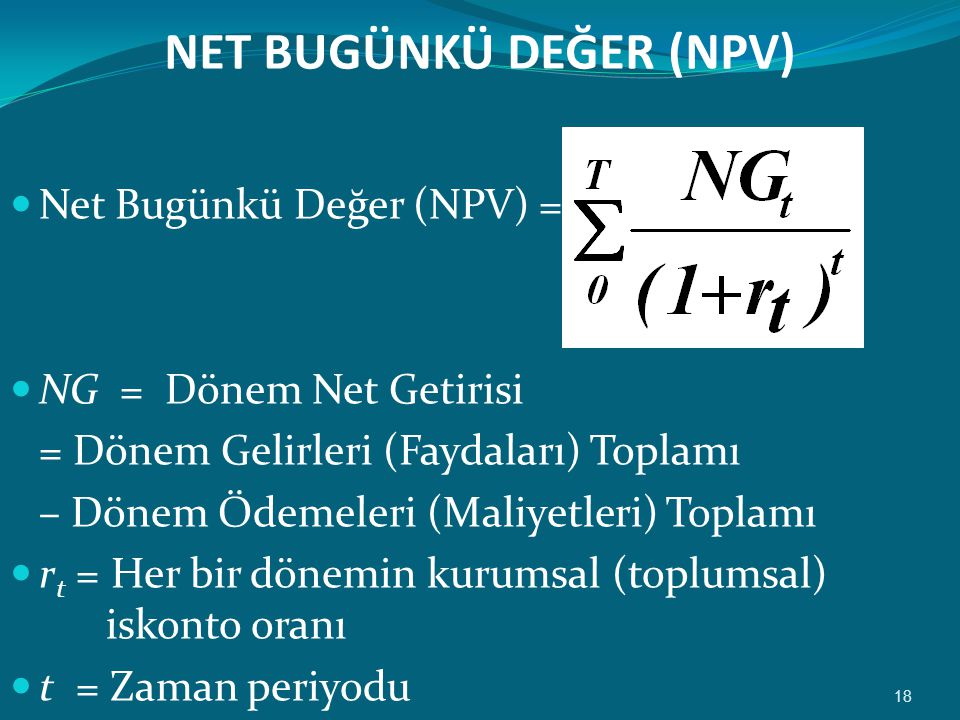 NET BUGÜNKÜ DEĞER (NPV)