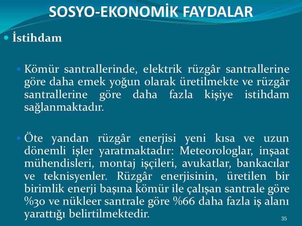 SOSYO-EKONOMİK FAYDALAR
