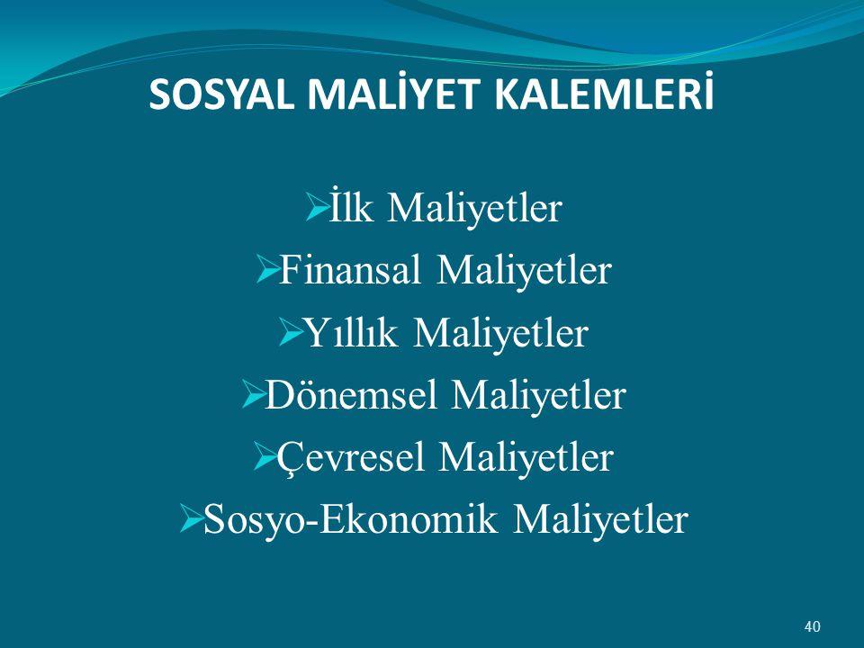 SOSYAL MALİYET KALEMLERİ