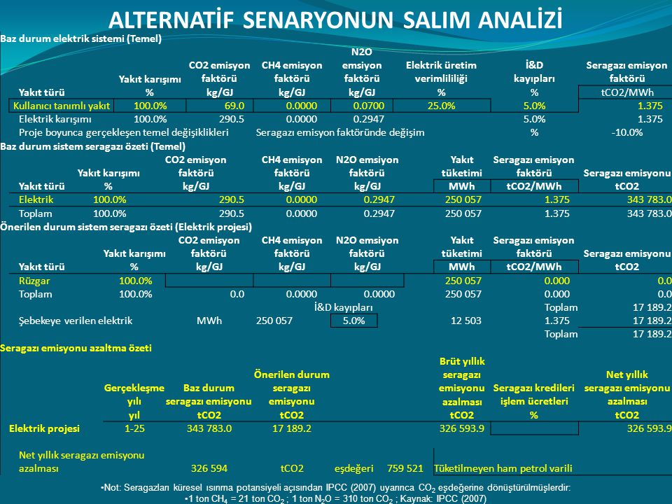 ALTERNATİF SENARYONUN SALIM ANALİZİ
