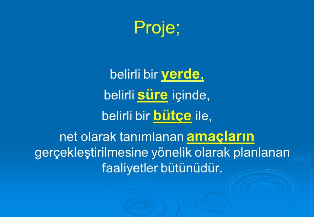 Proje; belirli bir yerde, belirli süre içinde, belirli bir bütçe ile,