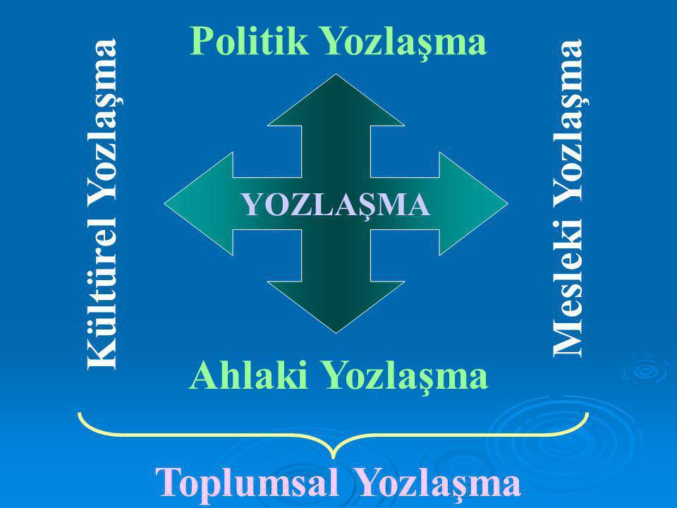Politik Yozlaşma Kültürel Yozlaşma Mesleki Yozlaşma Ahlaki Yozlaşma