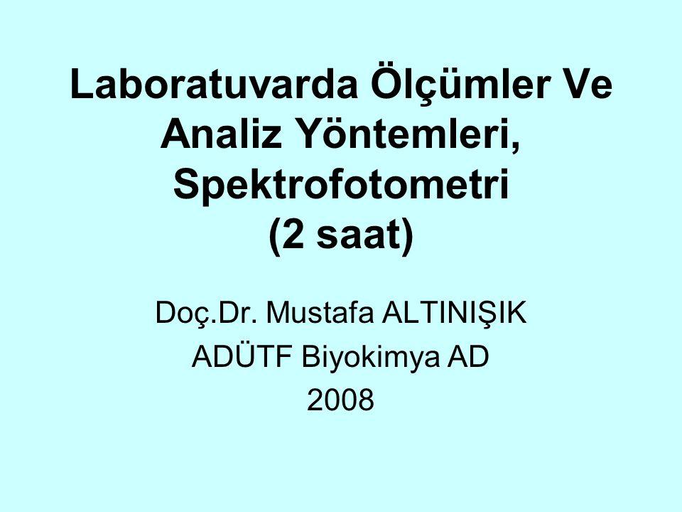 Laboratuvarda Ölçümler Ve Analiz Yöntemleri, Spektrofotometri (2 saat)
