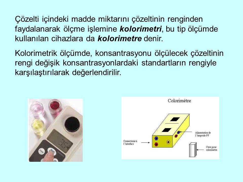 Çözelti içindeki madde miktarını çözeltinin renginden faydalanarak ölçme işlemine kolorimetri, bu tip ölçümde kullanılan cihazlara da kolorimetre denir.