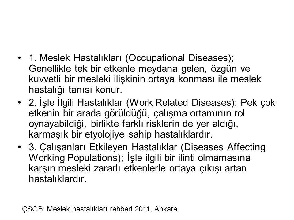 1. Meslek Hastalıkları (Occupational Diseases); Genellikle tek bir etkenle meydana gelen, özgün ve kuvvetli bir mesleki ilişkinin ortaya konması ile meslek hastalığı tanısı konur.