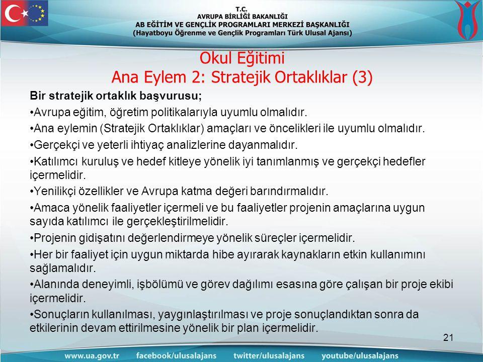 Okul Eğitimi Ana Eylem 2: Stratejik Ortaklıklar (3)