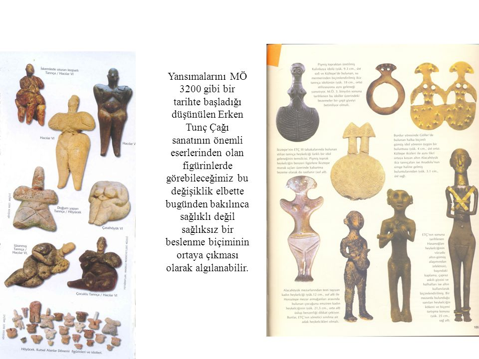 Yansımalarını MÖ 3200 gibi bir tarihte başladığı düşünülen Erken Tunç Çağı sanatının önemli eserlerinden olan figürinlerde görebileceğimiz bu değişiklik elbette bugünden bakılınca sağlıklı değil sağlıksız bir beslenme biçiminin ortaya çıkması olarak algılanabilir.