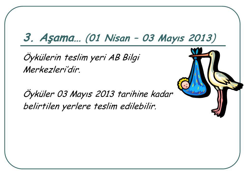 3. Aşama… (01 Nisan – 03 Mayıs 2013) Öykülerin teslim yeri AB Bilgi