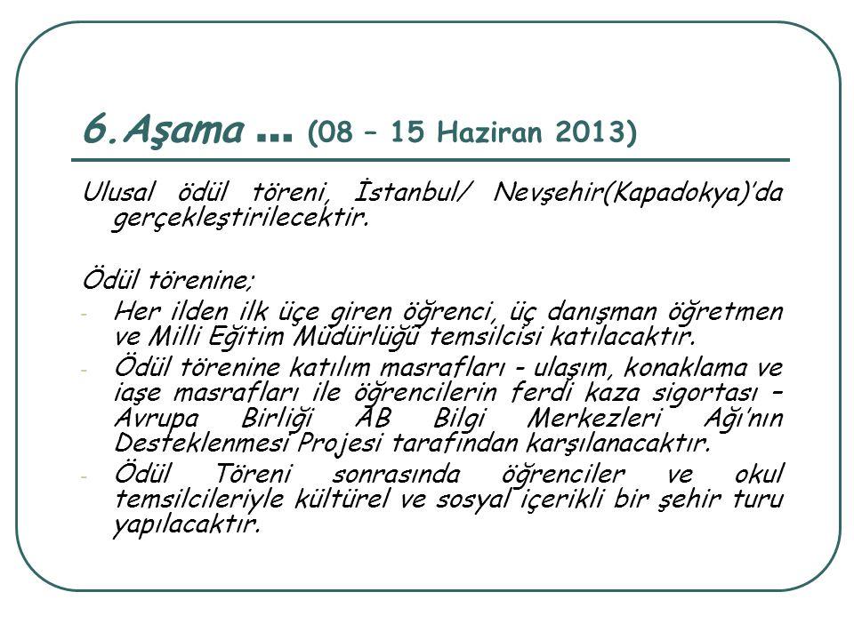 6.Aşama … (08 – 15 Haziran 2013) Ulusal ödül töreni, İstanbul/ Nevşehir(Kapadokya)'da gerçekleştirilecektir.