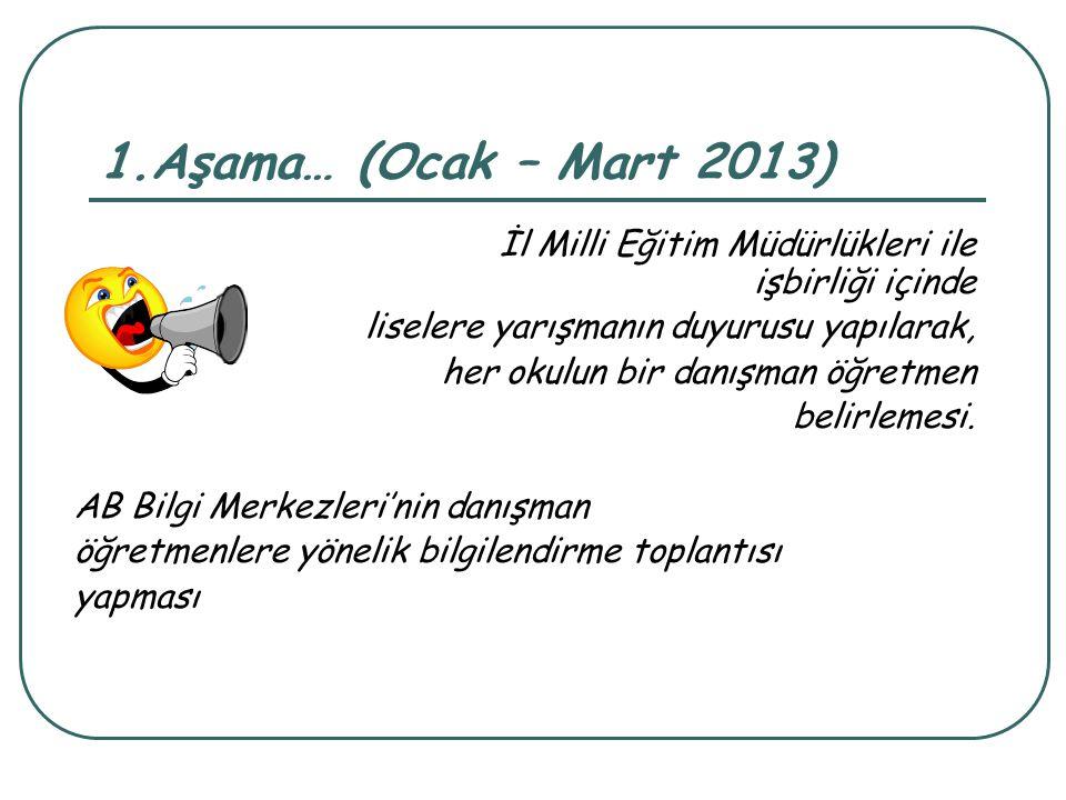 1.Aşama… (Ocak – Mart 2013) İl Milli Eğitim Müdürlükleri ile işbirliği içinde. liselere yarışmanın duyurusu yapılarak,