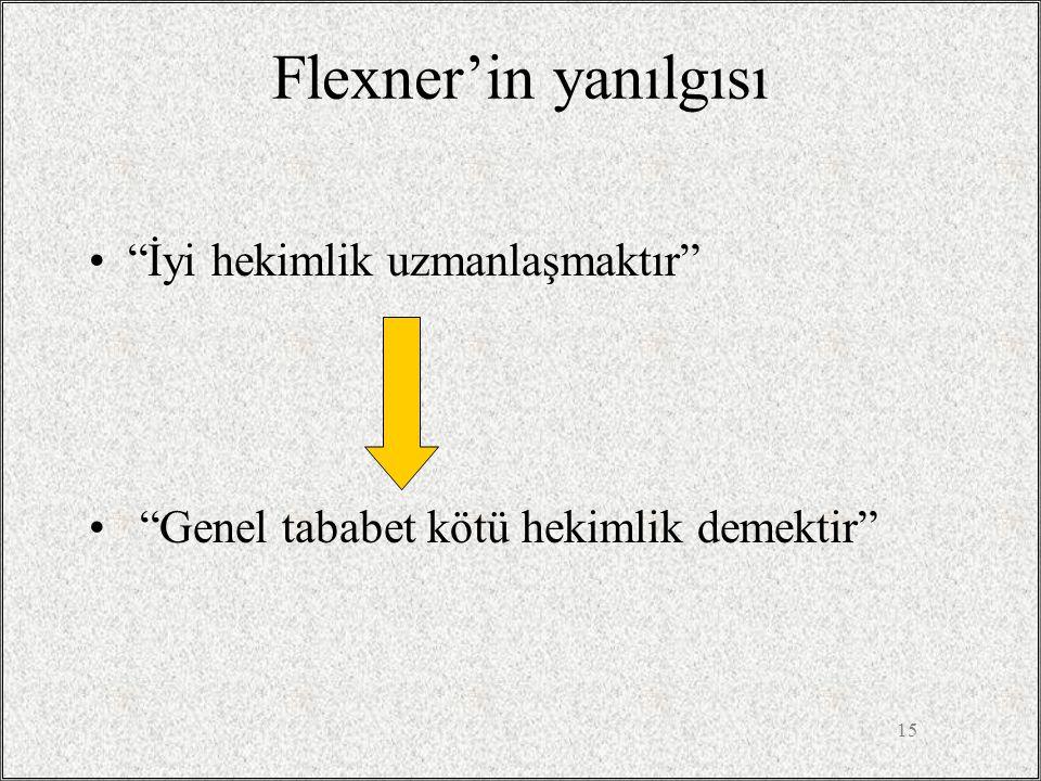 Flexner'in yanılgısı İyi hekimlik uzmanlaşmaktır