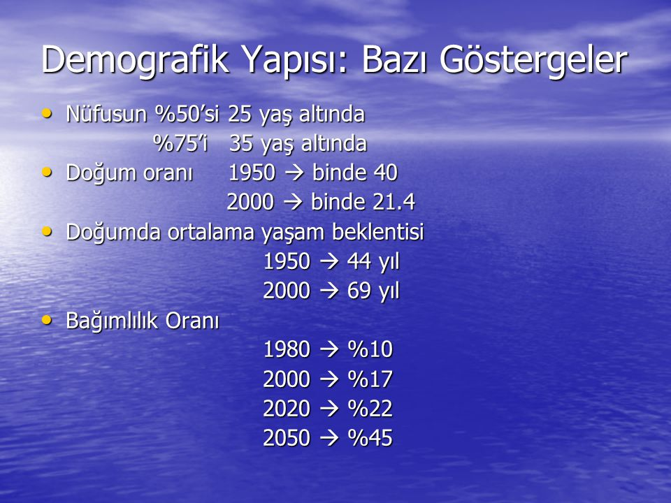 Demografik Yapısı: Bazı Göstergeler