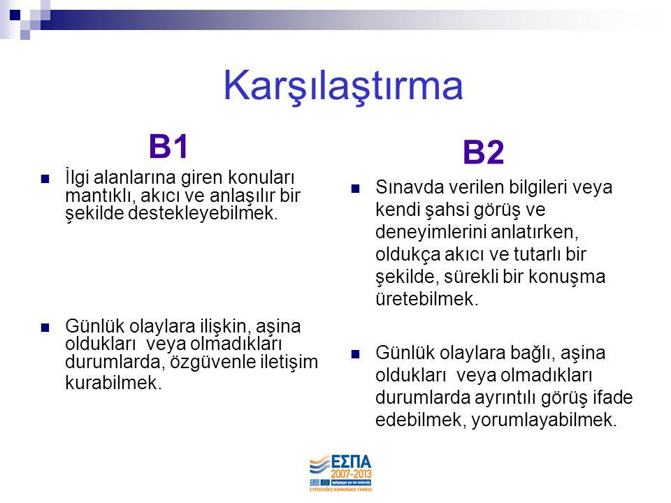 Karşılaştırma B1. İlgi alanlarına giren konuları mantıklı, akıcı ve anlaşılır bir şekilde destekleyebilmek.