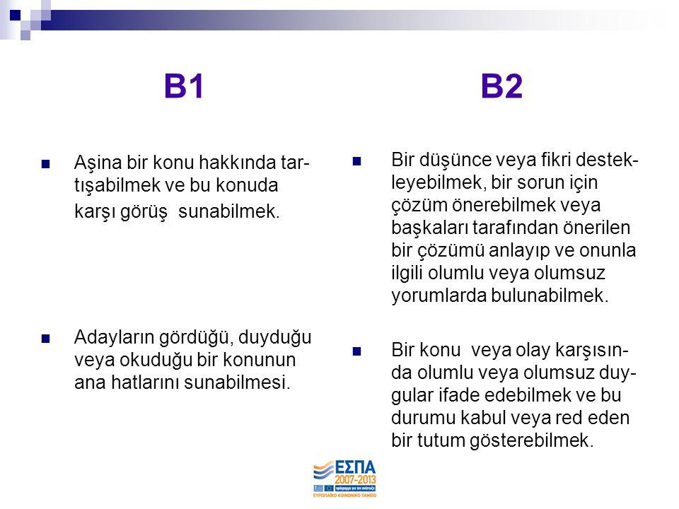 B1 B2 Aşina bir konu hakkında tar-tışabilmek ve bu konuda karşı görüş sunabilmek.