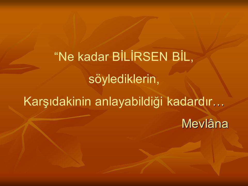 Ne kadar BİLİRSEN BİL, söylediklerin, Karşıdakinin anlayabildiği kadardır… Mevlâna