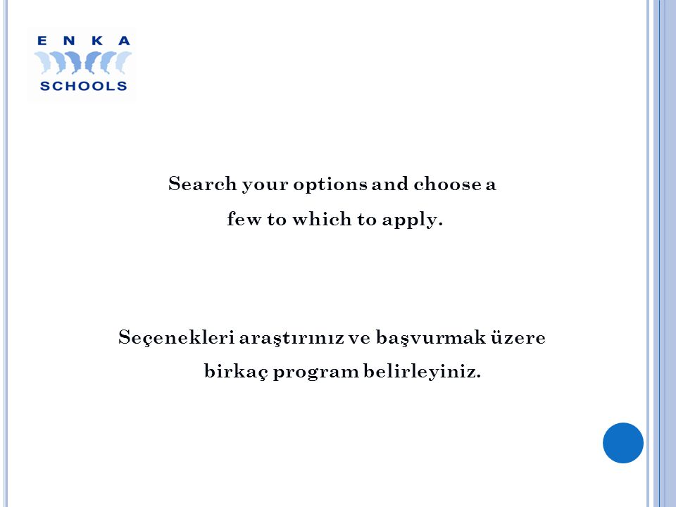 Search your options and choose a few to which to apply