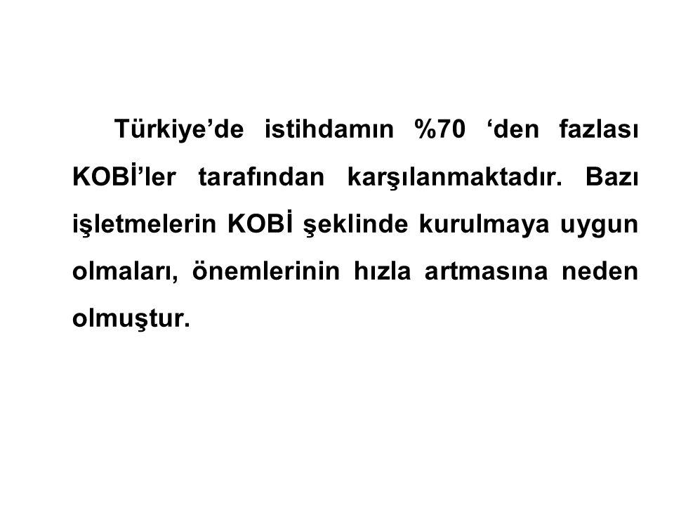 Türkiye'de istihdamın %70 'den fazlası KOBİ'ler tarafından karşılanmaktadır.