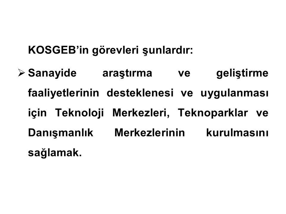 KOSGEB'in görevleri şunlardır: