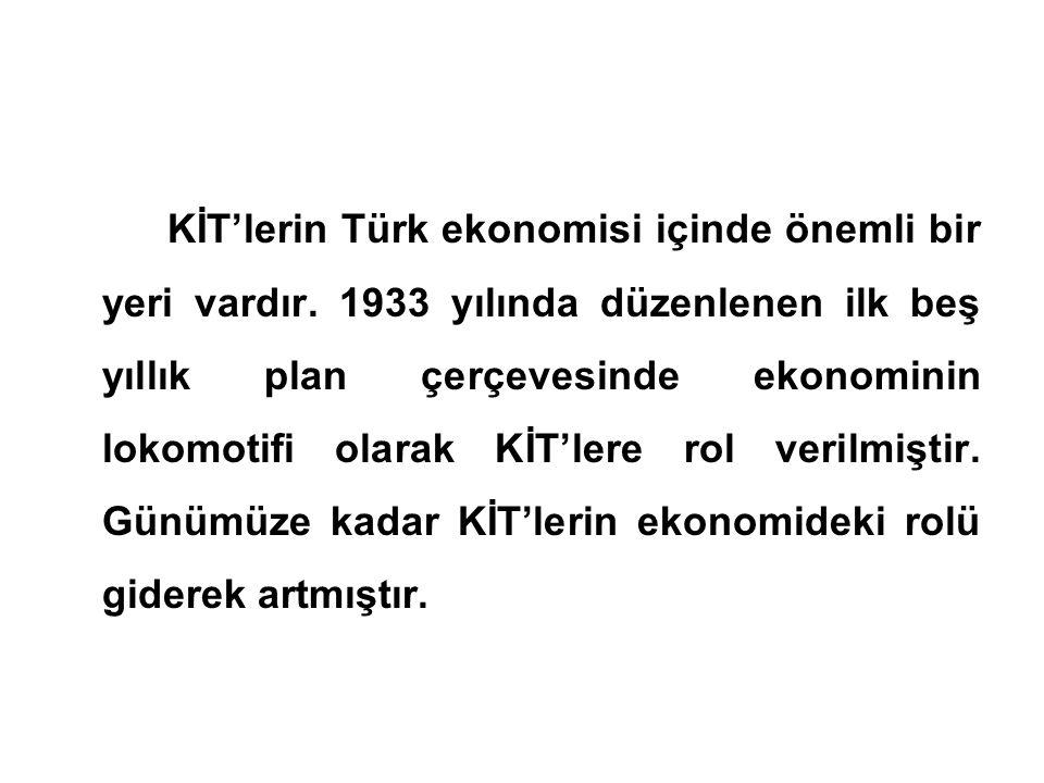 KİT'lerin Türk ekonomisi içinde önemli bir yeri vardır