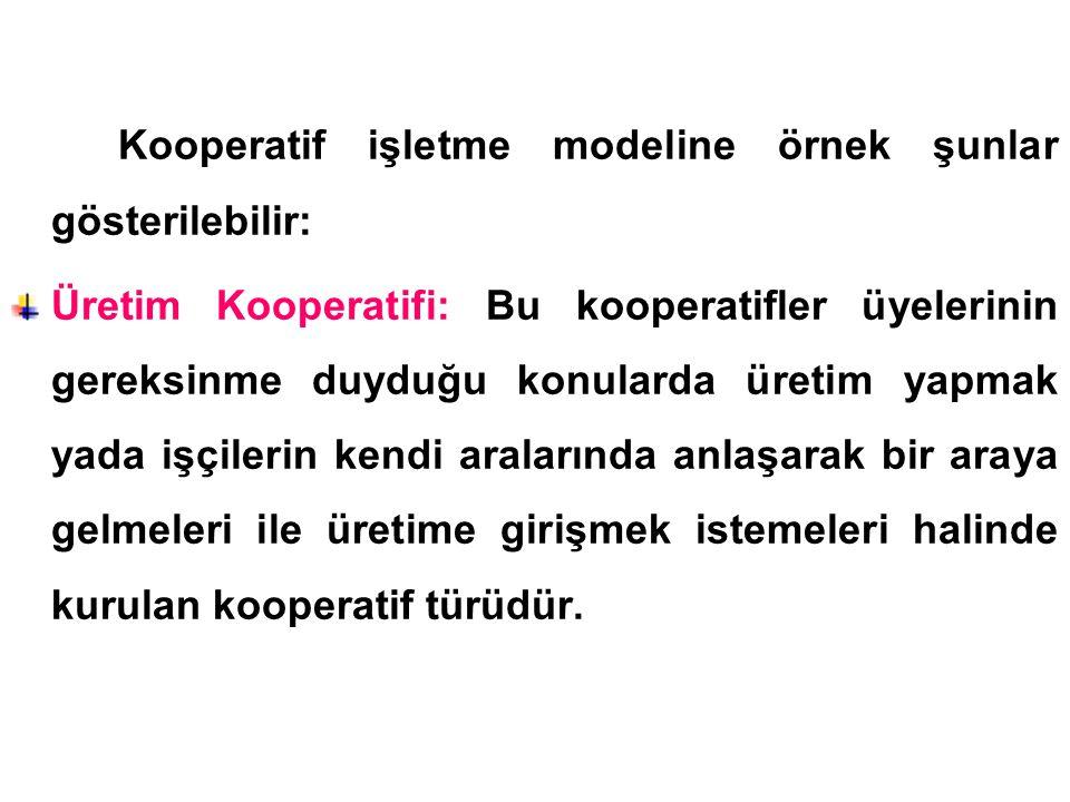 Kooperatif işletme modeline örnek şunlar gösterilebilir: