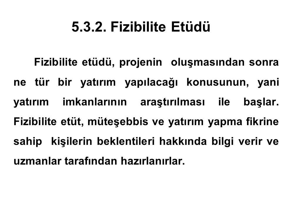 5.3.2. Fizibilite Etüdü