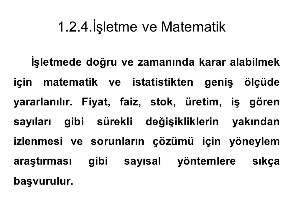 1.2.4.İşletme ve Matematik