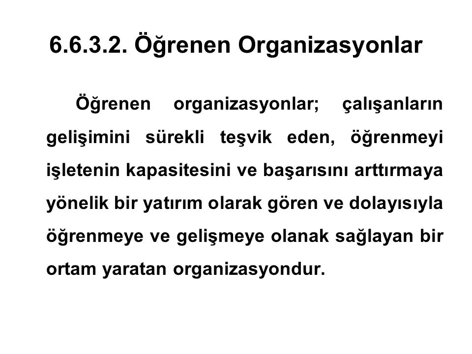 6.6.3.2. Öğrenen Organizasyonlar