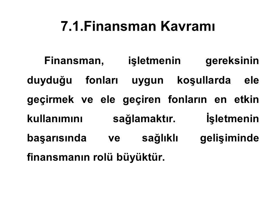 7.1.Finansman Kavramı