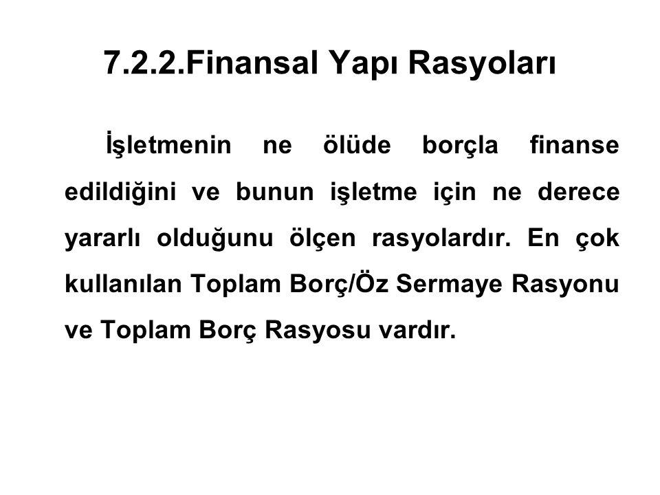 7.2.2.Finansal Yapı Rasyoları